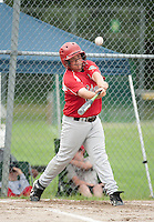 Cole Contigiani keeps his eye on the ball during the Cal Ripken U12 matchup with Newfound Tuesday evening at Prescott Park in Meredith.  (Karen Bobotas/for the Laconia Daily Sun)