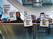 28 FEBRUARY 2020 - MINNEAPOLIS, MINNESOTA: Striking members of the SEIU Local 26 chant inside the main terminal during a strike picket at  the Minneapolis St. Paul International Airport. The striking workers did not disrupt flights or passengers. About 4,000 janitorial and custodial workers represented by the Service Employees International Union (SEIU) Local 26 in the Twin Cities are on an Unfair Labor Practices (ULP) strike for better wages and benefits. Friday morning they picketed  the Minneapolis-St. Paul International Airport Friday morning.         PHOTO BY JACK KURTZ