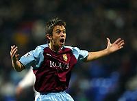 Photo. Aidan Ellis.<br />Bolton Wanderers v Aston Villa.<br />Carling Cup Semi Final 1st Leg.<br />21/01/2004<br />Villa's Lee Hendrie celebrates the second goal
