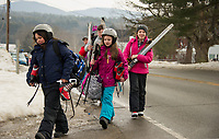 Elm Street School fifth graders at Bolduc Park trying out winter Olympic sports.   Karen Bobotas for the Laconia Daily Sun