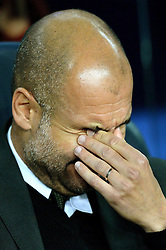 Manchester City manager Josep Guardiola cuts a dejected figure as he puts his hands to his his head - Mandatory by-line: Dougie Allward/JMP - 19/10/2016 - FOOTBALL - Camp Nou - Barcelona, Catalonia - FC Barcelona v Manchester City - UEFA Champions League