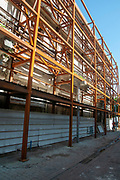 Iron support Scaffolds on a soon to be renovated ruined building On Jerusalem Boulevard, Jaffa, Israel