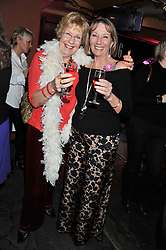 Left to right, CHRISTINE HAMILTON and JANE READE at a party to relaunch PR First London, held at the 606 Club, Lots Road, London SW10 on 16th January 2013.