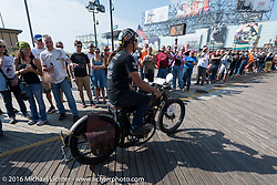 Jon Szalay of New Jersey riding his 1913 Thor leaves the start of the Motorcycle Cannonball Race of the Century. Stage-1 from Atlantic City, NJ to York, PA. USA. Saturday September 10, 2016. Photography ©2016 Michael Lichter.