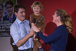 Prime Minister Justin Trudeau, his wife Sophie Gregoire Trudeau and their son Hadrien, 3, are seen during a Liberal party rally in Dolbeau-Mistassini, Que, Canada, on Thursday, October 19, 2017. Photo by Francis Vachon/CP/ABACAPRESS.COM