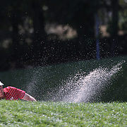 Jordan Spieth, USA, chips out of the sand trap on the fourth hole during the second round of The Barclays Golf Tournament at The Plainfield Country Club, Edison, New Jersey, USA. 28th August 2015. Photo Tim Clayton