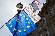 A day after British Prime Minister Boris Johnson successfully asked the Queen to suspend (prorogue) Parliament in order to manoeuvre his Brexit deal with the EU in Brussels, Remain banners and flags fly outside the Cabinet Office  in Whitehall, on 29th August 2019, in Westminster, London, England.