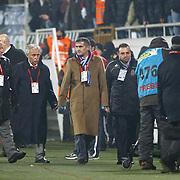 Trabzonspor's coach Senol GUNES (C) during their Turkish Superleague Derby match Besiktas between Trabzonspor at the Inonu Stadium at Dolmabahce in Istanbul Turkey on Sunday, 06 March 2011. Photo by TURKPIX