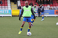 AFC Wimbledon midfielder Jimmy Abdou (8) warming up during the EFL Sky Bet League 1 match between AFC Wimbledon and Oxford United at the Cherry Red Records Stadium, Kingston, England on 10 March 2018. Picture by Matthew Redman.