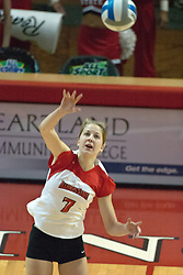 22 October 2006: M.C. (Mary Catherine) Richmond serving. Illinois State University swept Evansville in 3 straight games of a best of 5 match. The Evansville Purple Aces met the Redbirds of Illinois State at Redbird Arena on the campus of Illinois State University in Normal Illinois.<br />