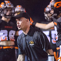 Gallup Bengals head coach Josh Olsen shouts instructions to his players on the sideline during the Bengals' match against the Bernalillo Spartans Friday at Public School Stadium.