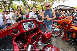 Show host Jody Perewitz with mc Jay Alan for the bagger stereo sound offs at the Perewitz Paint Show at the Broken Spoke Saloon during Daytona Beach Bike Week, FL. USA. Wednesday, March 13, 2019. Photography ©2019 Michael Lichter.