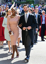 Serena Williams and her husband Alexis Ohanian arrive at St George's Chapel at Windsor Castle for the wedding of Meghan Markle and Prince Harry.