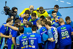 Veselin Vujovic, head coach of Slovenia with players during handball match between National Teams of Slovenia and Norway in Play Off Phase 2 of 2017 Men's World Championship Qualifications, on June 11, 2016 in Arena Zlatorog, Celje, Slovenia. Photo by Vid Ponikvar / Sportida