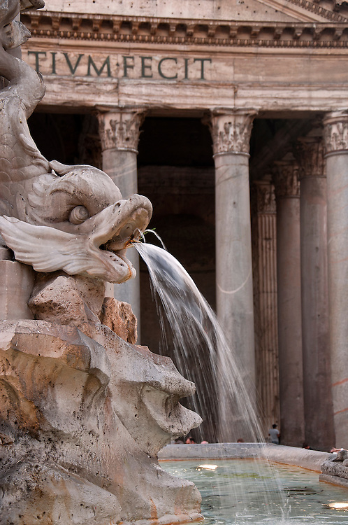 Water fountain outside of the Pantheon.