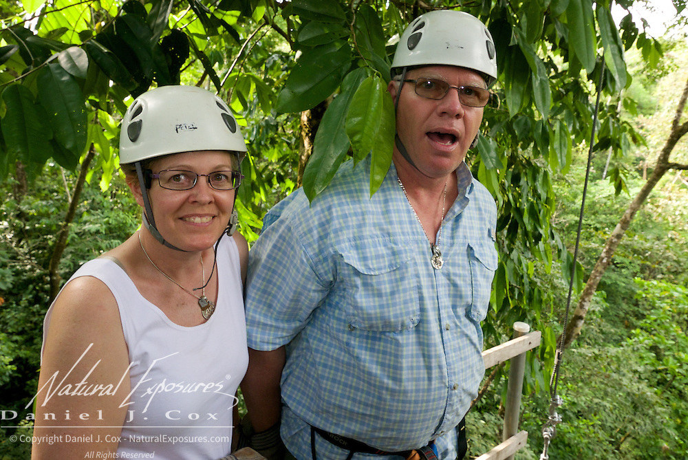 Christine Crosby and Paul, zip lining, Costa Rica.