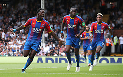 """Crystal Palace's Jeffrey Schlupp (left) celebrates scoring his side's first goal of the game with team-mate during the Premier League match at Craven Cottage, London. PRESS ASSOCIATION Photo. Picture date: Saturday August 11, 2018. See PA story SOCCER Fulham. Photo credit should read: Yui Mok/PA Wire. RESTRICTIONS: EDITORIAL USE ONLY No use with unauthorised audio, video, data, fixture lists, club/league logos or """"live"""" services. Online in-match use limited to 120 images, no video emulation. No use in betting, games or single club/league/player publications.during the Premier League match at Molineux, Wolverhampton. PRESS ASSOCIATION Photo. Picture date: Saturday August 11, 2018. See PA story SOCCER Wolves. Photo credit should read: Nick Potts/PA Wire. RESTRICTIONS: EDITORIAL USE ONLY No use with unauthorised audio, video, data, fixture lists, club/league logos or """"live"""" services. Online in-match use limited to 120 images, no video emulation. No use in betting, games or single club/league/player publications."""