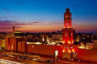Maroc, Casablanca, Ancienne Medina, la Tour de l Horloge et la mosquee Hassan II // Morocco, Casablanca, Old Medina, clock Tower and Hassan II mosque