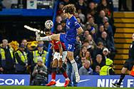 Chelsea defender David Luiz (30) avoiding handball tries to block a header from Manchester United Forward Marcus Rashford (10) during the The FA Cup match between Chelsea and Manchester United at Stamford Bridge, London, England on 18 February 2019.