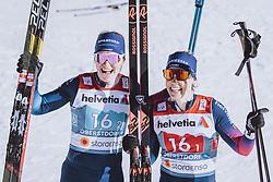 28.02.2021, Oberstdorf, GER, FIS Weltmeisterschaften Ski Nordisch, Oberstdorf 2021, Damen, Langlauf, Teamsprint, Freestyle, Siegerpräsentation, im Bild v.l.: Nadine Faehndrich (SUI), Laurien Van Der Graaff (SUI) // f.l.: Nadine Faehndrich of Switzerland Laurien Van Der Graaff of Switzerland during the winner presentation for the women Cross Country team sprint freestyle competition of the FIS Nordic Ski World Championships 2021 in Oberstdorf, Germany on 2021/02/28. EXPA Pictures © 2021, PhotoCredit: EXPA/ Dominik Angerer