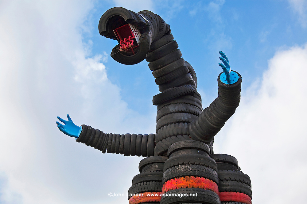 """Nishi Rokugo Koen in Tokyo is affectionately known as Tire Park or """"Taiya Koen"""" made of up used recycled tires of every size in the shape of robots, dragons, swings, bridges, tunnels and mountains. Approximately 3,000 old tires were used to make  the playground, popular with local neighbors and visitors from other parks of Tokyo for its sheer novelty."""