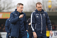Millwall manager Neil Harris walking off the pitch during the The FA Cup 5th round match between AFC Wimbledon and Millwall at the Cherry Red Records Stadium, Kingston, England on 16 February 2019.