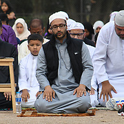 A couple hundreds of devoted Muslims to celebrate Eid al-Adha, to marked at the end of Ramadan in the Islamic calendar at Barnard Park on 21 August 2018, London, UK.