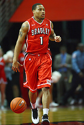 04 February 2012:  Dyricus Simms-Edwards during an NCAA Missouri Valley Conference mens basketball game where the Bradley Braves lost to the Illinois State Redbirds 78 - 48 in Redbird Arena, Normal IL