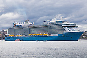 Cruise ship Spectrum of the Seas in Sydney Harbour at the start  of the Coronavirus Outbreak in Sydney, Australia.
