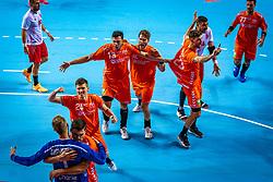 The Dutch handball player Bart Ravensbergen, Jeffrey Boomhouwer, Samir Benghanem, Jasper Adams, Jorn Smits during the European Championship qualifying match against Turkey in the Topsport Center Almere.