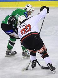 Egon Muric vs Jean Philippe Pare at 39th Round of EBEL League ice hockey match between HDD Tilia Olimpija and HK Acroni Jesenice, on December 30, 2008, in Arena Tivoli, Ljubljana, Slovenia. Tilia Olimpija won 4:3. (Photo by Vid Ponikvar / SportIda).