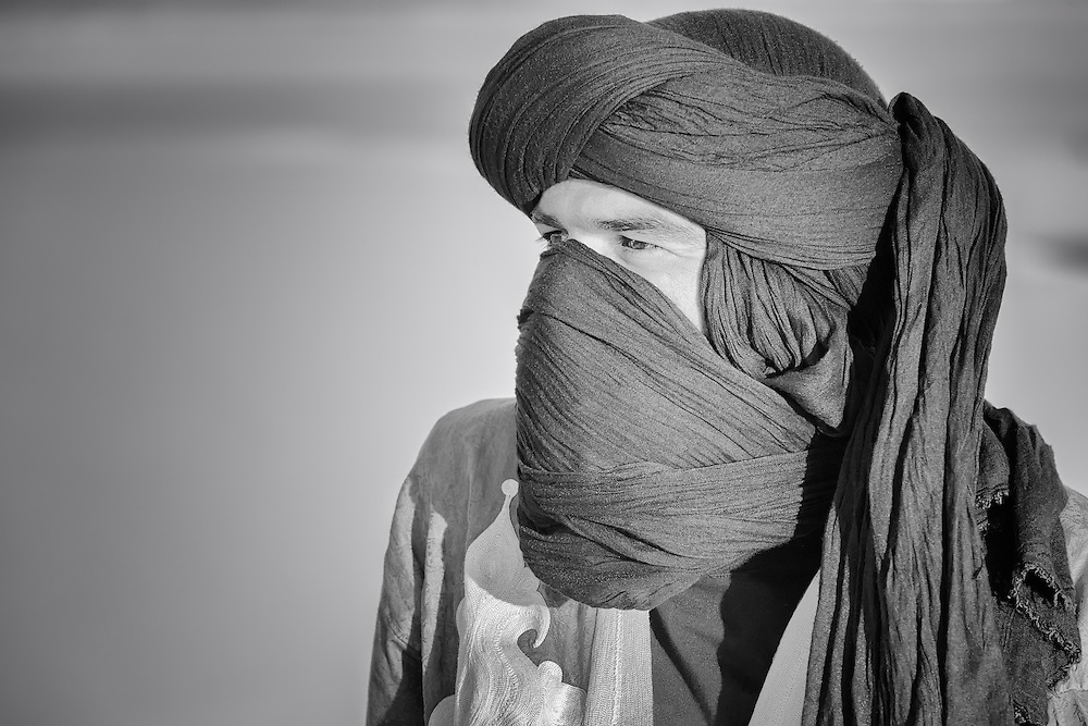 Portrait of a moroccan man with turban. Black and white fine art image.