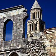 St Dominus Bell Tower with Silver Gate of Diocletian's Palace in the Foreground in Split, Croatia