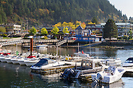Sewell's Marina and the Lookout Coffee Shop at Horseshoe Bay, British Columbia, Canada.  Photographed from the Horseshoe Bay Public Dock.