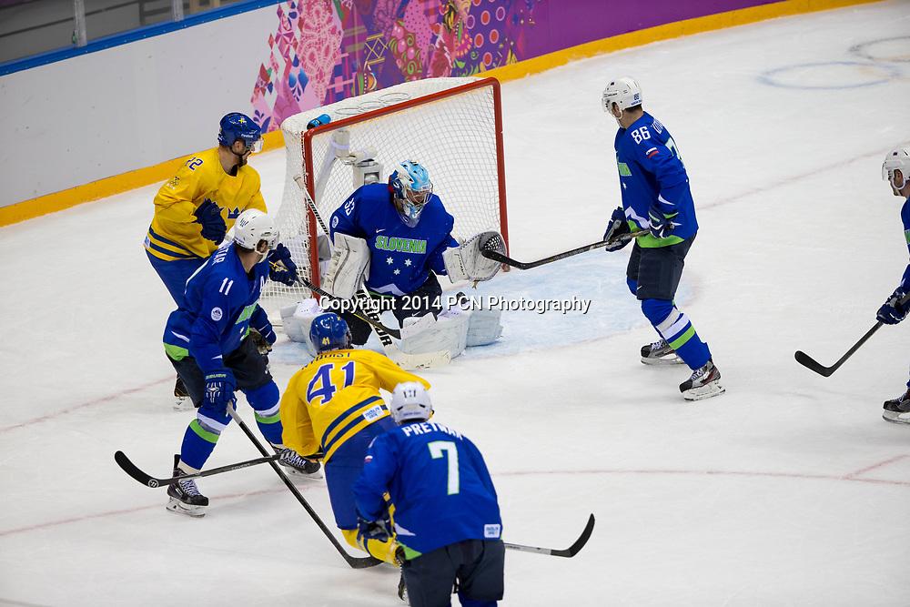 Goalie Robert Kristan (SLO)-33, during Sweden vs Slovenia game at the Olympic Winter Games, Sochi 2014