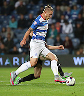 Sebastian Polter dribbling and trying to get QPR into the game during the Capital One Cup match between Queens Park Rangers and Carlisle United at the Loftus Road Stadium, London, England on 25 August 2015. Photo by Matthew Redman.