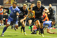 Duhan Van Der Merwe breaks for the try line during the Guinness Pro 14 2018_19 match between Edinburgh Rugby and Dragons Rugby at Murrayfield Stadium, Edinburgh, Scotland on 15 February 2019.