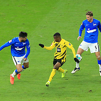 21.11.2020, OLympiastadion, Berlin, GER, DFL, 1.FBL, Hertha BSC VS. Borussia Dortmund, <br /> DFL  regulations prohibit any use of photographs as image sequences and/or quasi-video<br /> im Bild Niklas Stark (Hertha BSC Berlin #5), Omar Alderete (Hertha BSC Berlin #14)<br /> Youssoufs Moukoko (Borussia Dortmund #18)<br /> <br />       <br /> Foto © nordphoto / Engler
