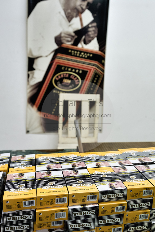 A stack of Cohiba cigarillos waiting for shrink wrap at the Santa Clara cigar factory in San Andres Tuxtlas, Veracruz, Mexico. The factory produces the Cuba Cohiba brand products under license for distribution to countries that ban Cuban products from import.