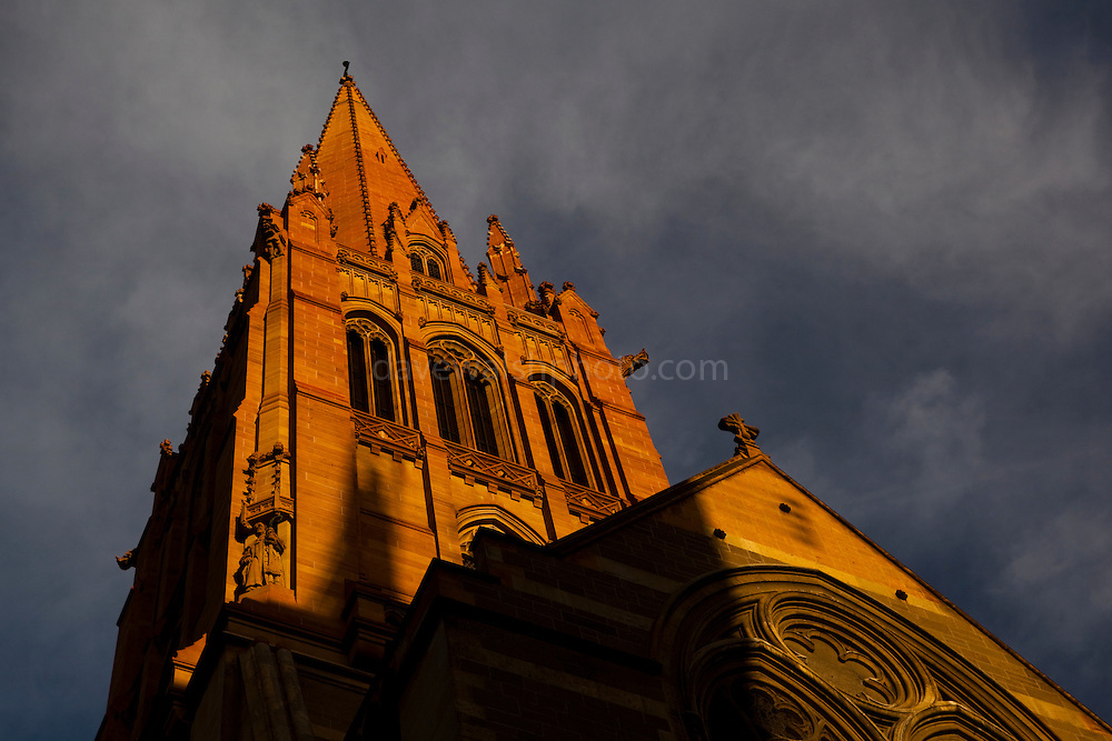 St. Paul's Cathedral, Melbourne, Australia, is an Anglican cathedral designed by various architects,  William Butterfield, John Barr and Joseph Reed Editorial use only.