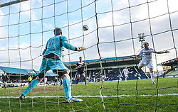 Raith Rovers John Baird scoring their first goal past Falkirk's keeper Michael McGovern.<br /> Raith Rovers 2 v 4 Falkirk, Scottish Championship game today at Starks Park.<br /> © Michael Schofield.