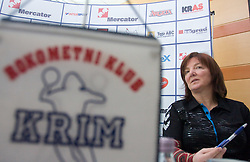 Coach Marta Bon at press conference of RK Krim Mercator before the Championship league match Krim Mercator vs Györi AUDI ETO KC, on February 4, 2009, in Ljubljana, Slovenia. (Photo by Vid Ponikvar / Sportida)