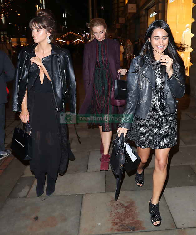 Sair Khan, Tisha Merry, Catherine Tyldesley and Brooke Vincent arriving for the opening of a French Connection shop in The Royal Exchange Shopping Arcade, Manchester on Wednesday evening
