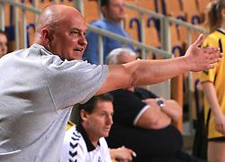 Coach of Zalec Ales Filipcic at Women Slovenian Handball Cup, finals match for third place between RK Celeia Zalec and ZRK Krka, on April 5, 2009, in Arena Tivoli, Ljubljana, Slovenia. Won of Krka 27:24. (Photo by Vid Ponikvar / Sportida)