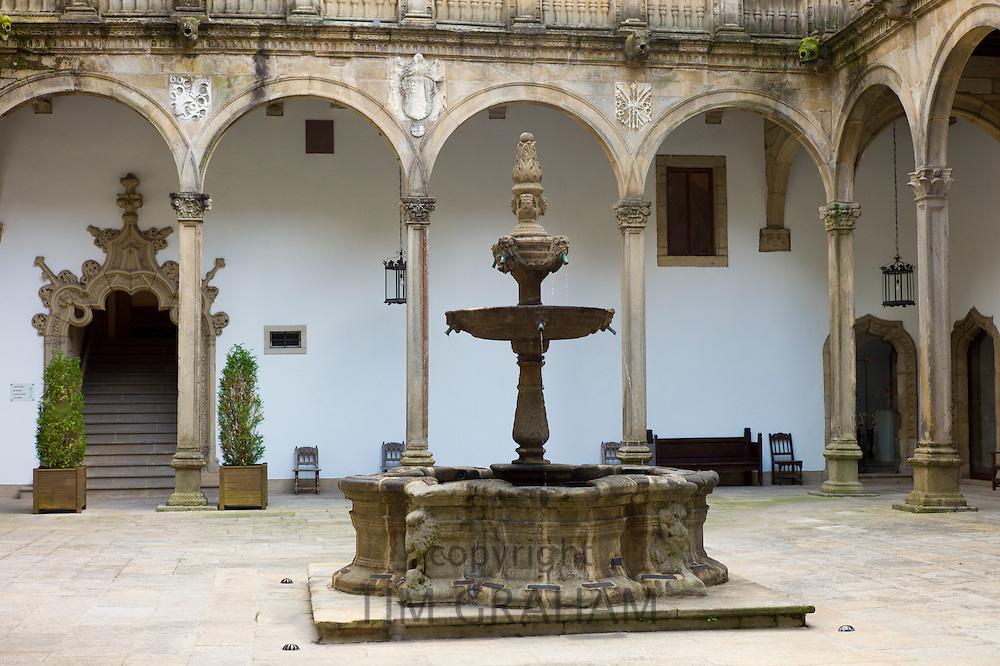 Fountain in Parador Hostal de Los Reyes Catolicos, Santiago de Compostela, Galicia, Spain