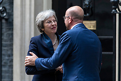 © Licensed to London News Pictures. 23/05/2018. London, UK. Prime Minister Theresa May (L) greets Prime Minister of Belgium Charles Michel (R) on Downing Street. Photo credit: Rob Pinney/LNP