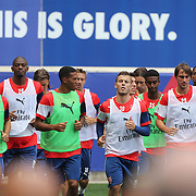 Arsenal players during a training session at Red Bull Arena ahead of the friendly match between Arsenal and New York Red Bulls. Red Bull Arena, Harrison, New Jersey. USA. 24th July 2014. Photo Tim Clayton