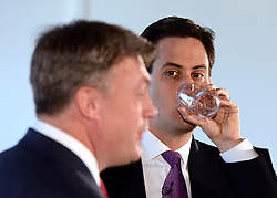 © Licensed to London News Pictures. 30/04/2012. London, UK . Leader of the Opposition Ed Miliband (rear) and Shadow Chancellor Ed Balls Q&A session on economic policy and the UK's return to recession. Coin Street neighbourhood centre, London today. Photo credit : Stephen Simpson/LNP