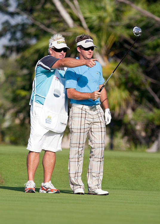 PGA Tour professional Brian Gay and caddie, Kip Henley, at the Mayakoba Classic in Maya Riviera, Mexico where he was the defending champion on El Camaleon golf course.