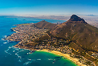 Aerial view of coastline of Cape Town with Signal Hill and Lion's Head Mountain in background, South Africa.